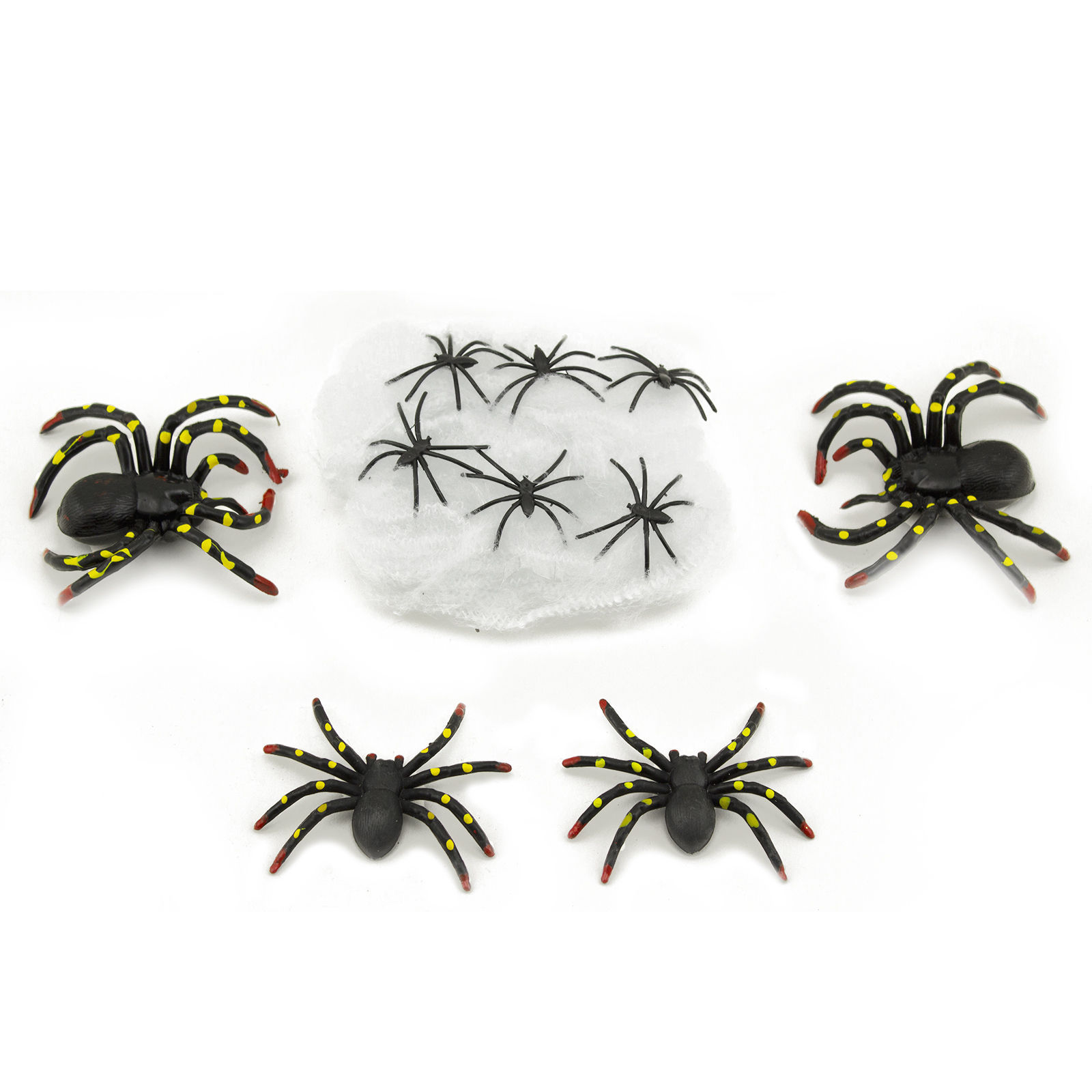 10 Pcs Plastic Scary Black Spiders Stretchable Web Halloween Haunted House Decor