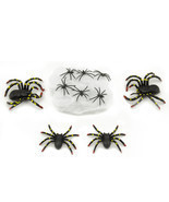 10 Pcs Plastic Scary Black Spiders Stretchable Web Halloween Haunted Hou... - ₨402.74 INR