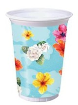 Flamingo Fun Hibiscus Beach Luau Pool Party 8 16 oz Plastic Cups - £2.88 GBP