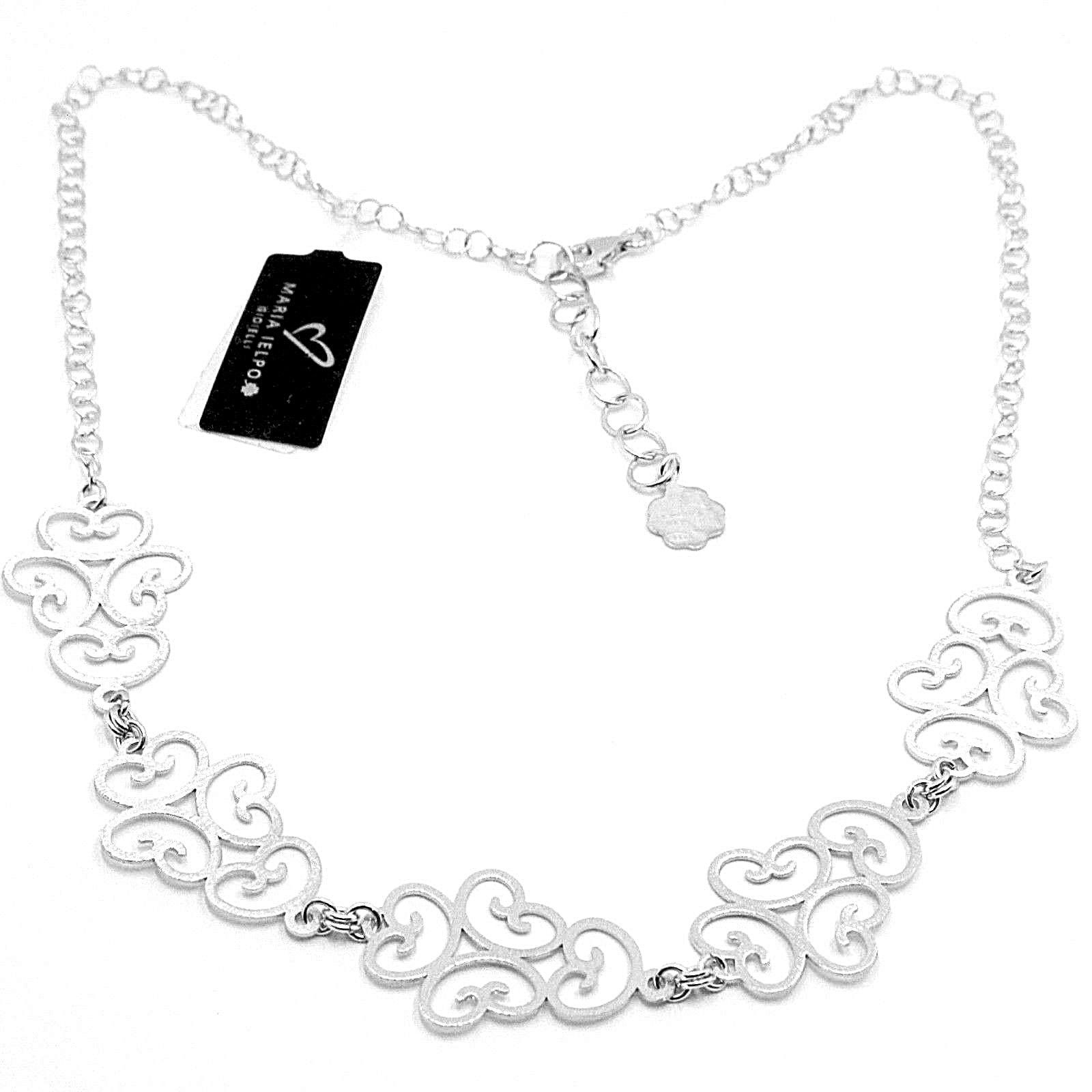 SILVER 925 NECKLACE, SATIN, PATTERN FLORAL BY MARY JANE IELPO, MADE IN ITALY