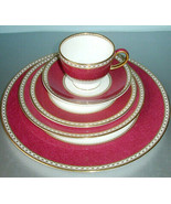 Wedgwood Ulander Powder Ruby 5 Piece Place Setting Made in UK 2nd Quality - $246.90
