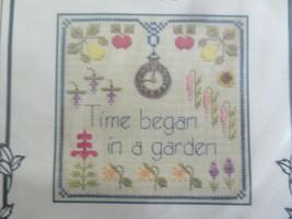 Elizabeth's Designs TIME - MY GARDEN Cross Stitch KIT w/Fabric, Thread & Charm - $11.88