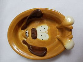 "Douglas Russ Berrie Hound Dog Plate Trinket Dish Tan Brown Puppy 6"" Long - $27.95"