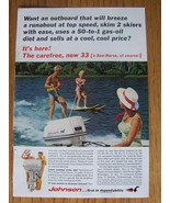 Johnson Outboard 33 Motor Sea-Horse Ad 2 People Water Skiing 1965 - $7.00