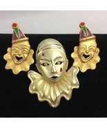 Vintage Clown Clip On Earrings and Brooch Pin Gold Tone Brushed Satin Fi... - $24.70