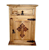 Rustic Cross Nightstand Western Solid Wood Lodge Cabin Engraved Detail - $246.51