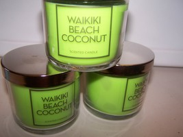 Lot of 3 Bath & Body Works Waikiki Beach Coconut Scented Candle -Limited... - $29.99