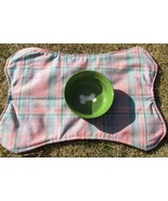 Bone-Shaped Dog Place Mat, Pink Plaid - $5.00