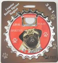 Pug (fawn) dog coaster magnet bottle opener Bottle Ninjas magnetic - $9.95