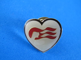 Wavy Red Lines on Heart Shaped Lapel Hat Pin Souvenir Collector  - $3.95