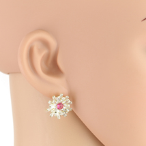 United Elegance Gold Tone Faux Ruby Earrings With Swarovski Style Crystals - $19.99