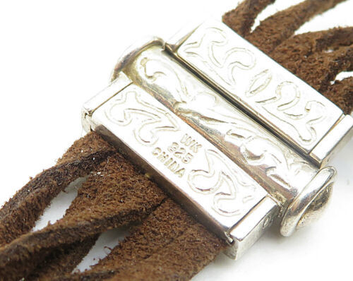 WHITNEY KELLY 925 Silver - Vintage Suede Engraved Detail Chain Bracelet - B4202