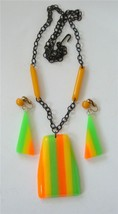 Vintage Bakelite and Lucite Necklace and Earrings Set MOD Neon Stripes B... - $64.34