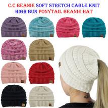 CC Ponytail Beanie Hat Soft Stretch Cable Knit High Bun Ponytail C.C Bea... - $13.09+