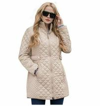 Ladies Long Quilted Jacket Outerwear Winter Coat  Medium image 3