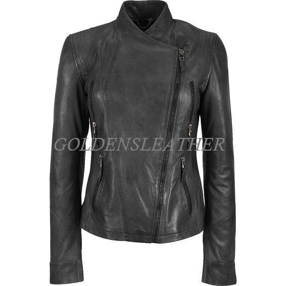 WOMEN BIKER MOTORCYCLE CASUAL SLIM FIT RIDER REAL GENUINE  LEATHER JACKET-A36