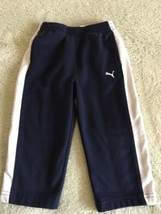 Puma Boys Navy Blue Blue Athletic Elastic Waist Pants Pockets 18 Months  - $5.48