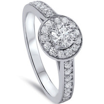 3/4ct Diamond Halo Engagement Ring with Accent Diamonds Solid 14K White ... - £563.33 GBP