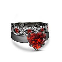 Heart Shape Red Garnet 14K Black Gold Finish 925 Sterling Silver Bridal Ring Set - $118.99