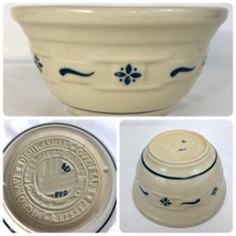 LONGABERGER Pottery Mixing Bowl Small Signed Embossed Mark Blue Woven Tr... - $24.70