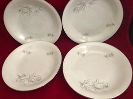 "Winterling Bavaria Germany Salad Bowls (4) 7-3/4"" Gray Rose Platinum Trim 28 - $29.86"