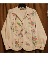 NEW DIRECTION HIPPIE WHITE DENIM JACKET LONG SLEEVE EMBROIDERY BEADS POC... - $14.99