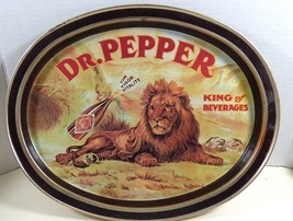 "VTG advertising 1979 Dr. Pepper Lion King of Beverages Metal Tray 14.5"" ... - $44.55"