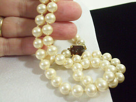 ELEGANT Strand Creamy White Faux PEARLS Amber RS Clasp Hand Knott String... - $17.81
