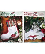 Scrap Quilting Christmas Rose Stocking & Tree Skirt Pattern Leaflet Quilt - $2.99