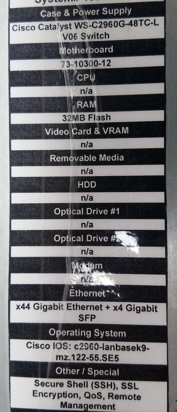 Cisco Catalyst WS-C2960G-48TC-L V06 48 Port Gigabit Switch Bin: 1