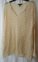 Apostrophe Woman Size 16/18W  Tan Crochet Top Long Sleeve  - $14.84