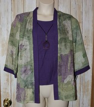 Womens Pretty Purple Green Floral Dressbarn 3/4 Sleeve Shirt Size Large ... - $14.84