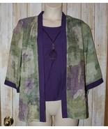 Womens Pretty Purple Green Floral Dressbarn 3/4 Sleeve Shirt Size Large ... - $14.84