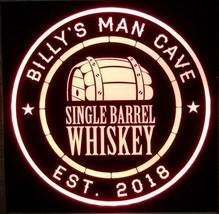 Custom Single Barrel Whiskey LED Sign Personalized, Home bar pub Sign, L... - $60.00