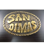 "Vintage Solid Brass BELT BUCKLE SAN DIMAS Oval w/ Rope Border 3"" wide - $23.75"
