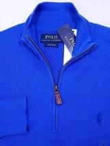 POLO RALPH LAUREN 1/2 ZIP MOCK NECK SWEATER BLUE PIMA COTTON SZ S NWT $99 - $61.17