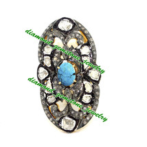 Basic Turquoise Diamond Ring Sterling Silver 925 Rose Cut Victorian Diam... - $731.94