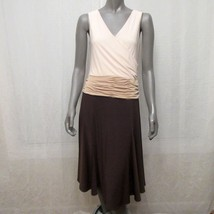 Adrianna Papell Brown Beige White Sleeveless Ruched A-line Midi Dress Sz... - $19.55