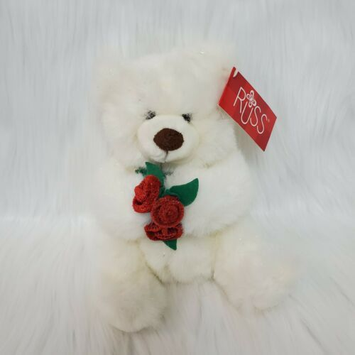 "Primary image for 12"" Plush Russ Berrie White Teddy Bear Mistie Holding Red Flowers Plush Toy B174"