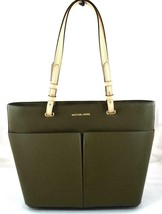 AUTHENTIC NEW NWT MICHAEL KORS LEATHER BEDFORD GREEN OLIVE TOP ZIP TOTE - $99.99