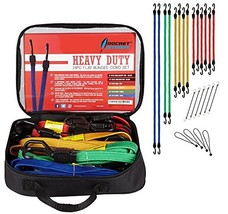 Rocket Straps | Flat 24PC Extreme Heavy Duty Flat Bungee Cords with Hooks | Bung