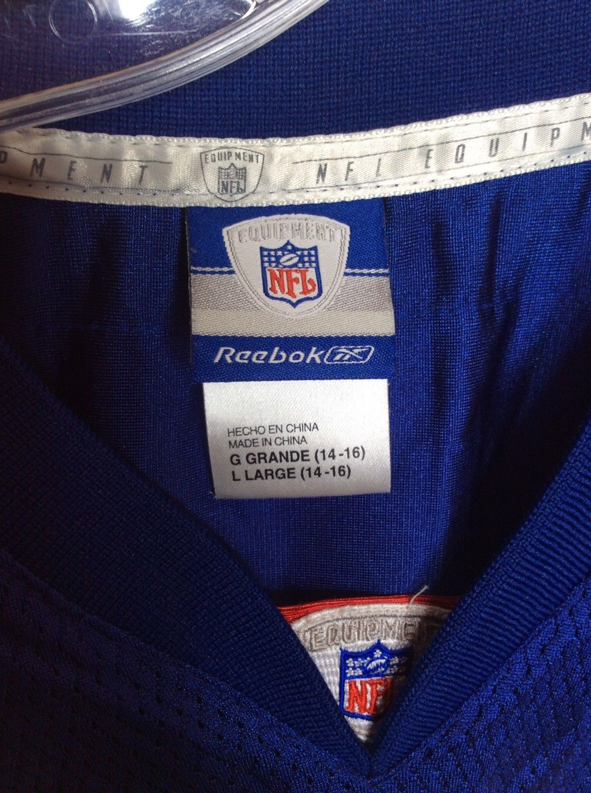 Reebok NFL New York Giants 21 Tiki Barber Football Jersey Blue Youth Large 14-16 image 4
