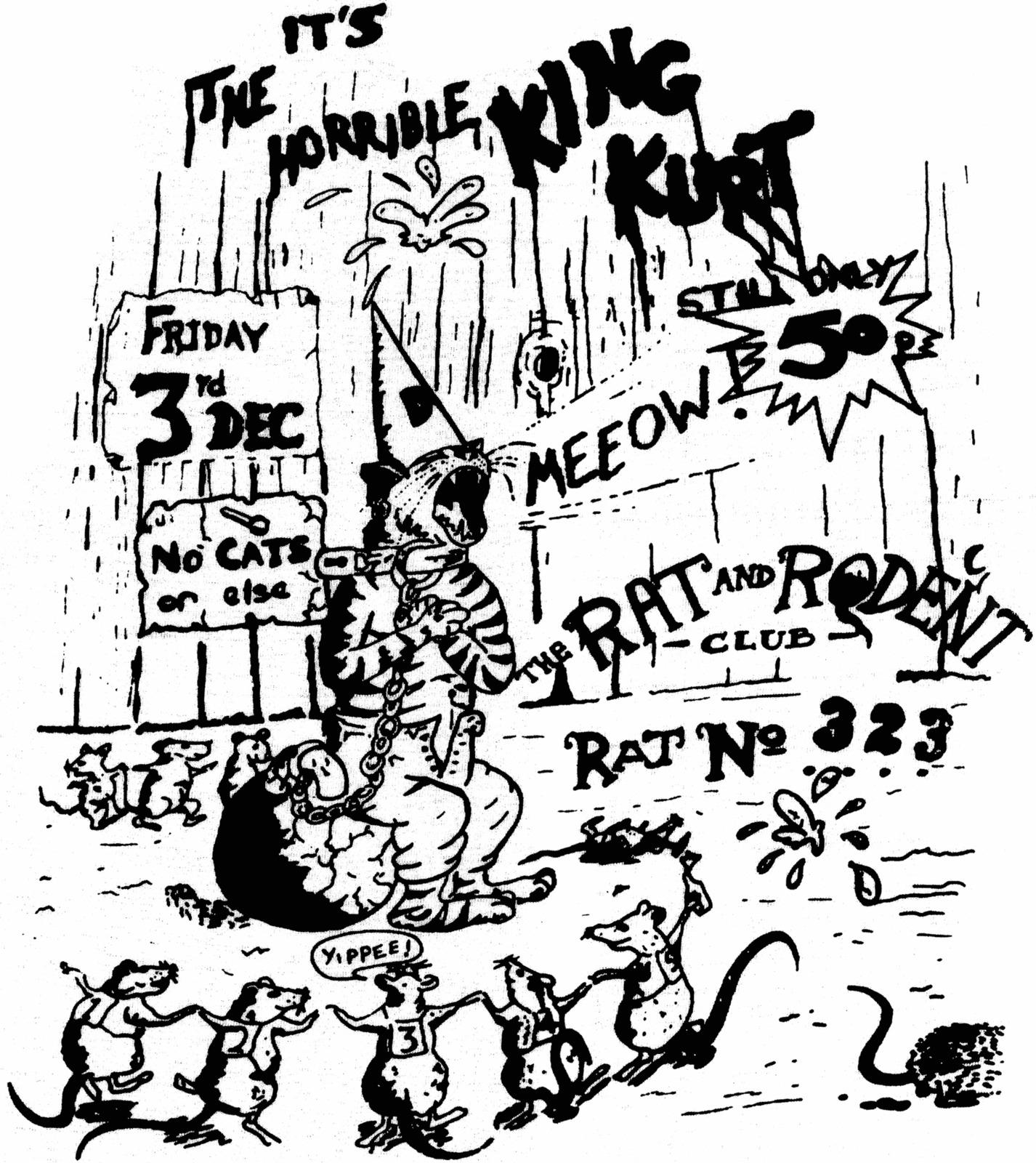 No Cats Allowed ladies t-shirt rockabilly psychobilly king kurt cramps punk cool