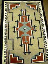"""Vintage Old Pawn TWO GREY HILLS Navajo Wool Rug Hand Woven 34"""" x 55"""" c1982 - $1,950.00"""