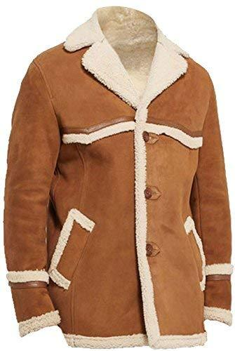 Kingsman Golden Circle Harry Colin Fur Shearling Brown Suede Leather Coat Jacket
