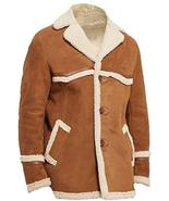 Kingsman Golden Circle Harry Colin Fur Shearling Brown Suede Leather Coa... - $146.00
