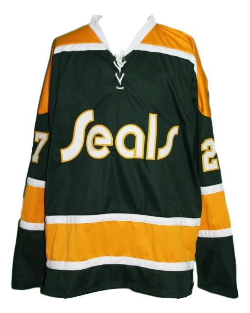 Gilles meloche  27 california golden seals retro hockey jersey green   1