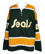Gilles Meloche #27 California Golden Seals Retro Hockey Jersey Any Size - $49.99