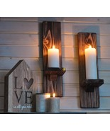 Candle Sconce for Wall, Pair - 'Oak Oiled', Rustic Home Decor for Candle... - $38.99