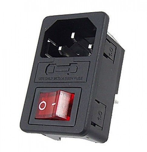 10a seguridad! Red Rocker Interruptor verschmolzen IEC320 C14 Inlet Enchufe SE